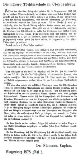 Artikel zur geplanten Gründung (1878)
